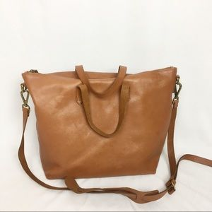 Madewell Zip Top Transport Brown Carryall Tote